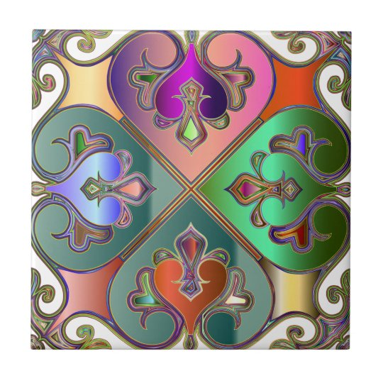 Elegant Colourful Arabesque Abstract Personalised Tile