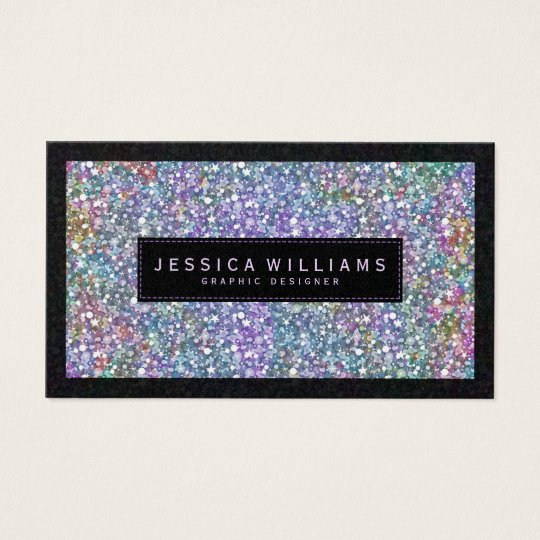 Elegant Colourful Faux Glitter & Sparkles Print Business Card