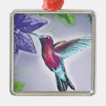 elegant colourful hummingbird and purple flowers christmas tree ornament