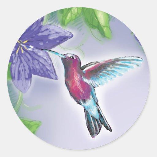 elegant colourful hummingbird and purple flowers round sticker