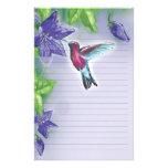 elegant colourful hummingbird and purple flowers custom stationery