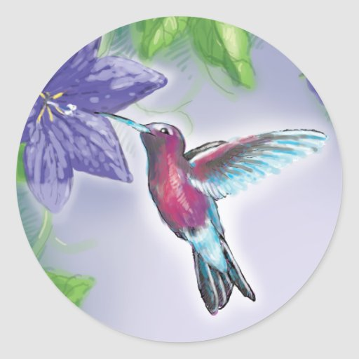 elegant colourful hummingbird and purple flowers round sticker