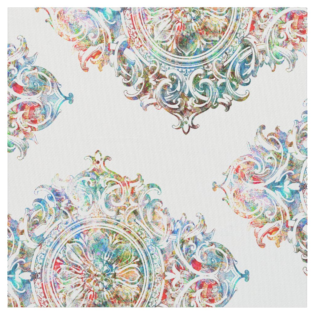 Elegant Colourful Over White Floral Ornament