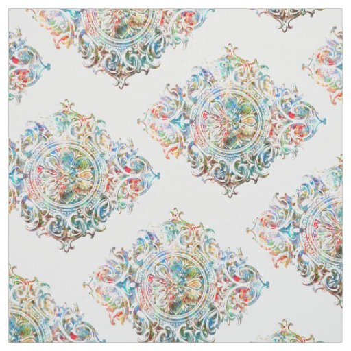 Elegant Colourful Over White Floral Ornament Fabric
