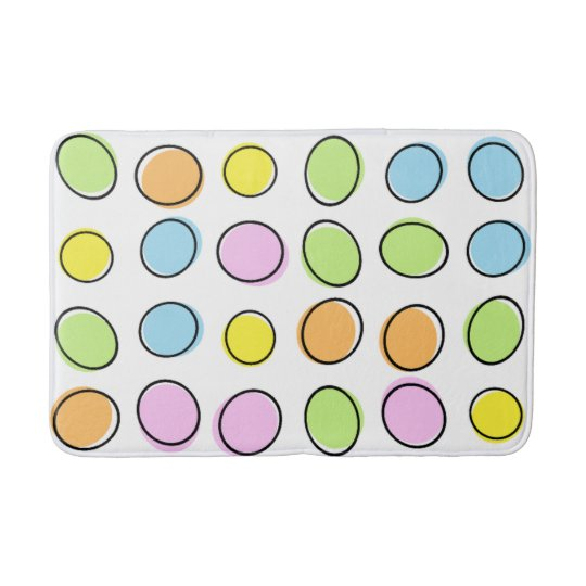 Elegant Colourful Pastel Retro Ovals Pattern Bath Mat