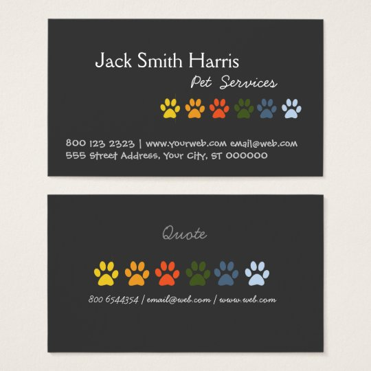 Elegant Colourful Paws DOG Pet Veterinarian Business Card
