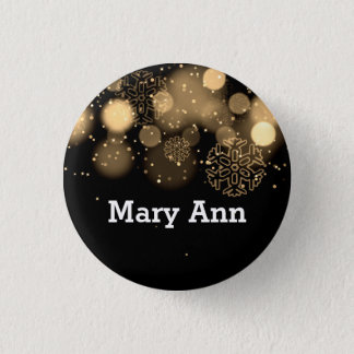 Elegant Company Christmas Name Tag Gold 3 Cm Round Badge