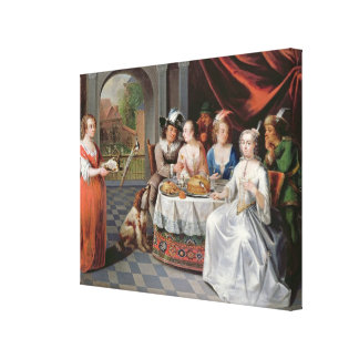 Elegant company dining in an pillared hall (panel) canvas print