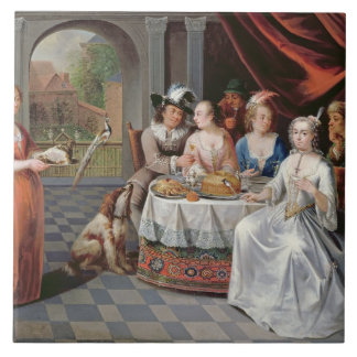 Elegant company dining in an pillared hall (panel) tile