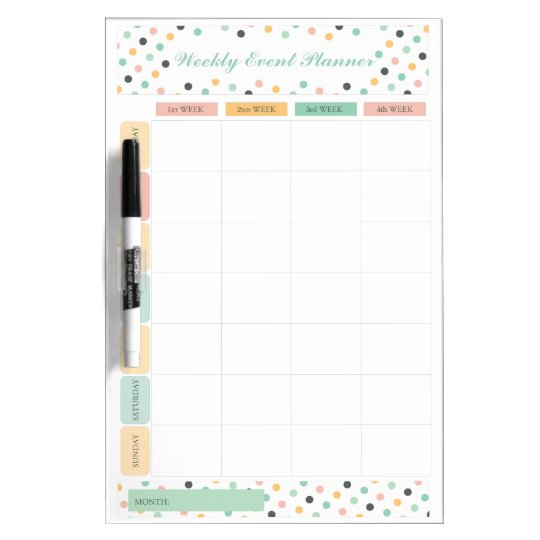 Elegant Confetti Polka Dots Weekly Monthly Planner Dry-Erase