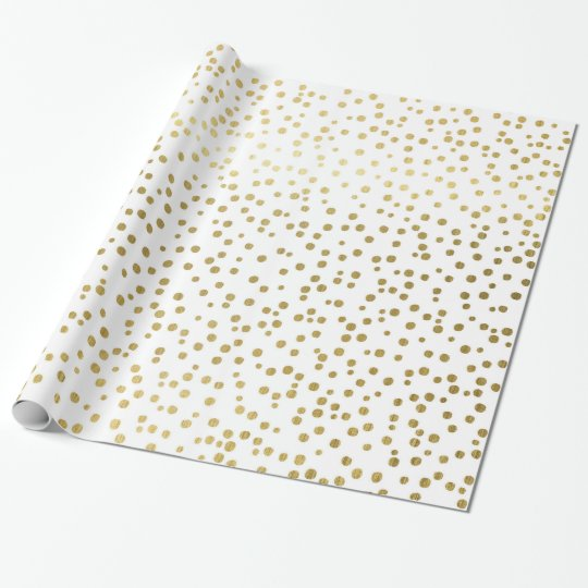 Elegant Confetti Sprinkled Gold Dots Wrapping Paper