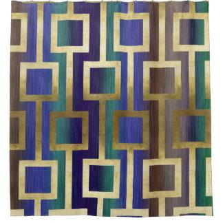 Elegant Contemporary Gold Blue Green Tan Purple Shower Curtain