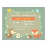 Elegant Contemporary Woodland Animal Baby Shower 11 Cm X 14 Cm Invitation Card