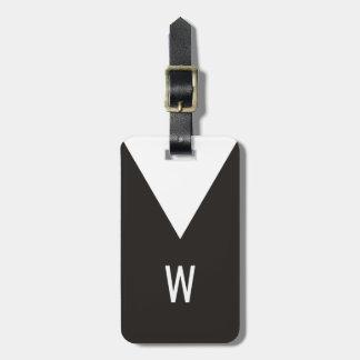Elegant Cool Black White Geometric Monogram Luggage Tag