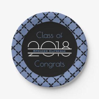 Elegant, Cool & Blue Graduation Paper Plate