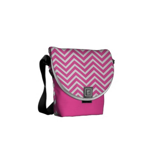 Elegant, cool, classic, girly lucky pink chevron courier bag