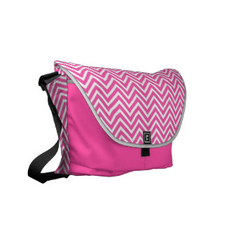 Elegant, cool, classic, girly lucky pink chevron messenger bags