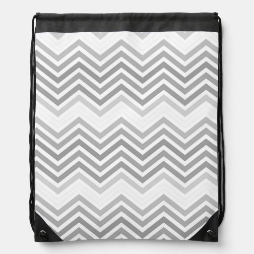 elegant, cool, classic, modern light grey zigzag drawstring backpack