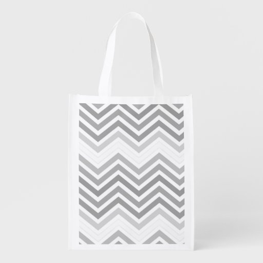 elegant, cool, classic, modern light grey zigzag reusable grocery bags