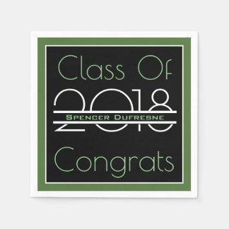 Elegant, Cool & Green Graduation Disposable Napkins