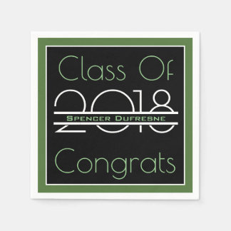 Elegant, Cool & Green Graduation Disposable Serviette