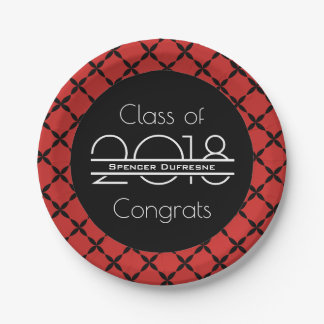 Elegant, Cool & Red Graduation Paper Plate