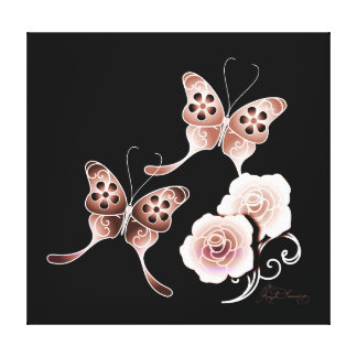 Elegant Copper Butterflies And Roses Canvas Print