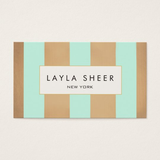 Elegant Copper Gold and Turquoise Stripes Business Card