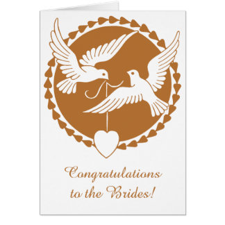 Elegant Copper Love Doves Lesbian Wedding Card