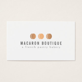 Elegant Copper Macaron Trio Logo on White Business Card