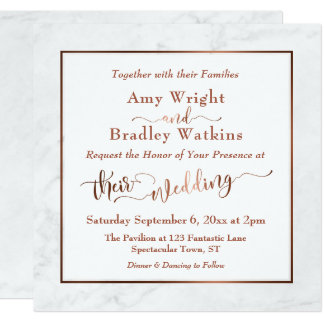 Elegant Copper Script w/ White Marble | Wedding Card
