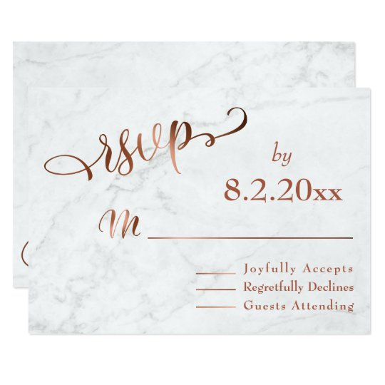 Elegant Copper Script w/ White Marble Wedding RSVP