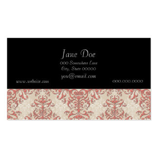 Elegant Coral and Antique White Damask Pattern Pack Of Standard Business Cards