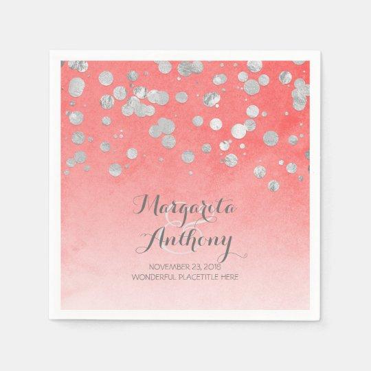 Elegant Coral and Silver Wedding Paper Napkin