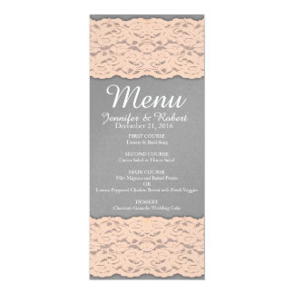 Elegant Coral and Soft Grey Lace Design Card