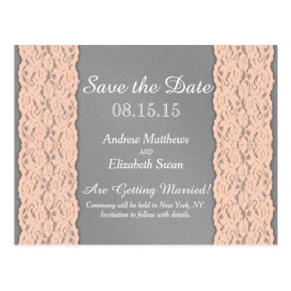 Elegant Coral and Soft Grey Lace Design Postcard