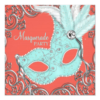 Elegant Coral and Teal Blue Masquerade Party 13 Cm X 13 Cm Square Invitation Card