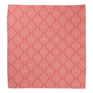 Elegant Coral And White  Damask Pattern Bandana