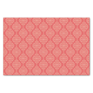 "Elegant Coral And White  Damask Pattern 10"" X 15"" Tissue Paper"