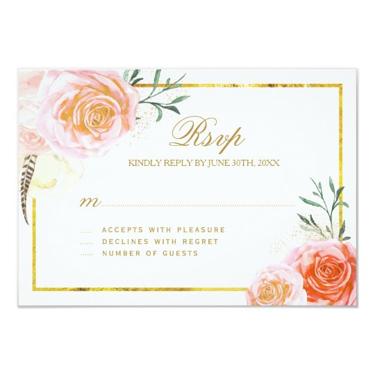 Elegant Coral, Blush Pink and Peach RSVP Cards