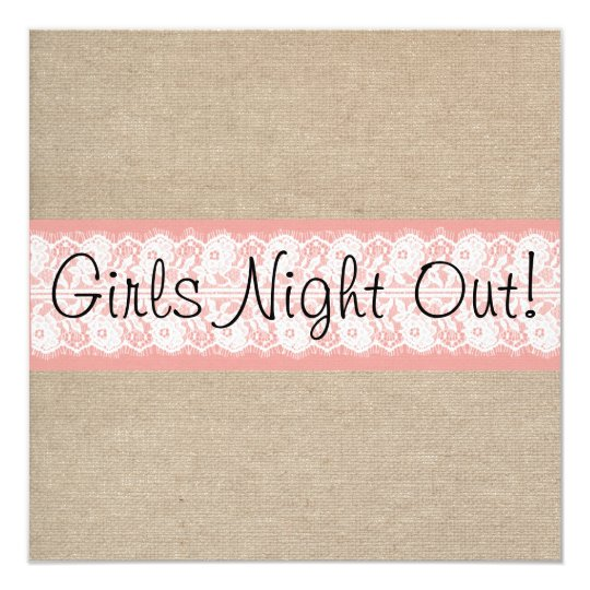 Elegant Coral Burlap Lace Girls Night Out Invite