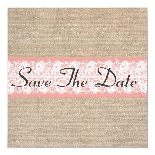 Elegant Coral Burlap Lace Save The Date Card
