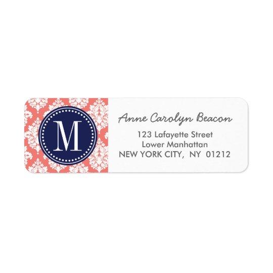 Elegant Coral Damask Personalised Return Address Label