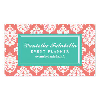 Elegant Coral Damask Personalized Business Card Templates