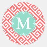 Elegant Coral Greek Key Personalised Round Stickers
