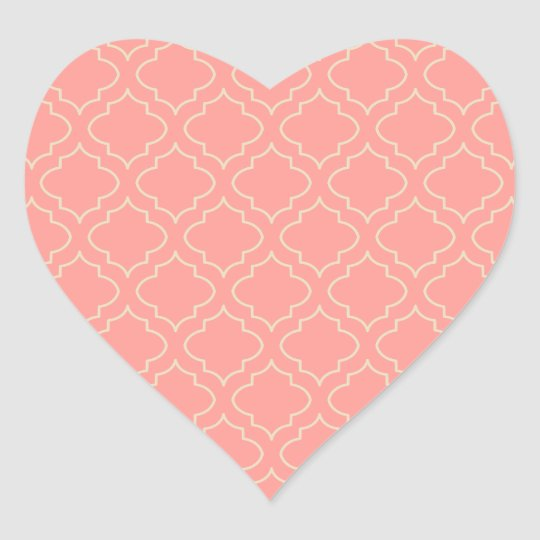 Elegant Coral Heart Stickers