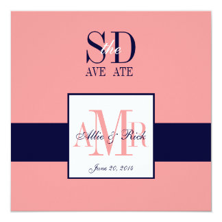 Elegant Coral Navy Save the Date Announcement