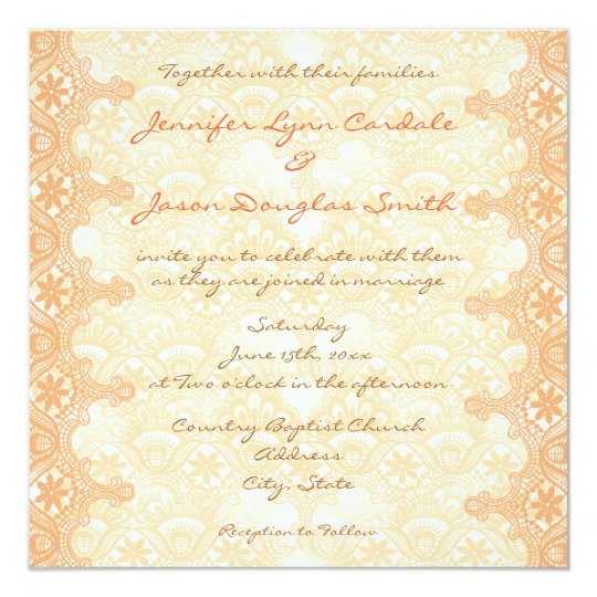 Elegant Coral Peach Lace Damask Wedding Invitation