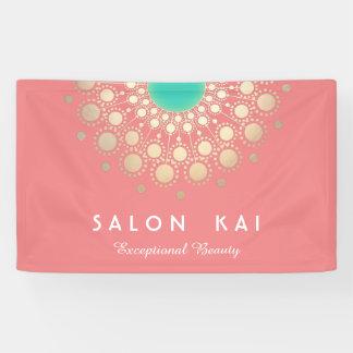 Elegant Coral Pink and Gold Circle Motif Banner