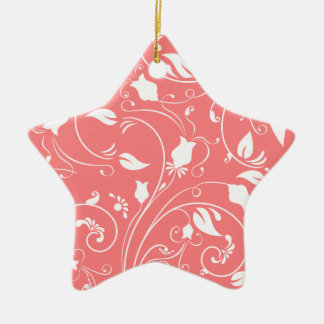 Elegant Coral Pink Floral Swirls Flowers Christmas Ornaments